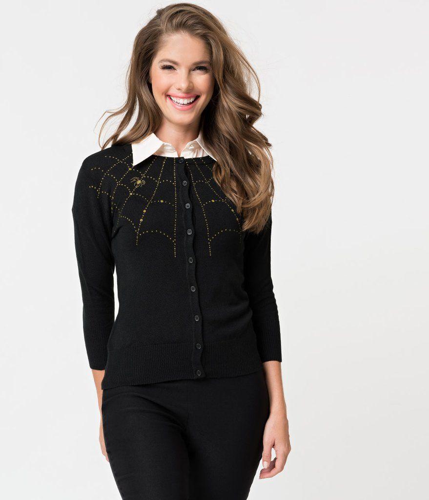 cheaper purchase cheap shop Black Knit & Golden Spiderweb Three-Quarter Sleeved Cardigan ...