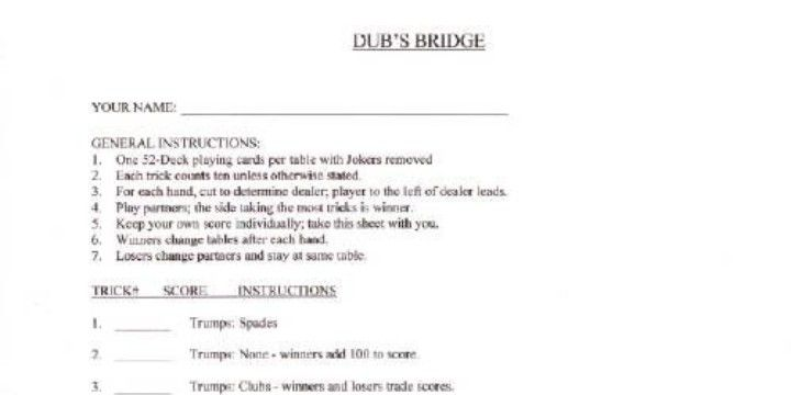 Example Of DubS Bridge Individual Score SheetWe Played This