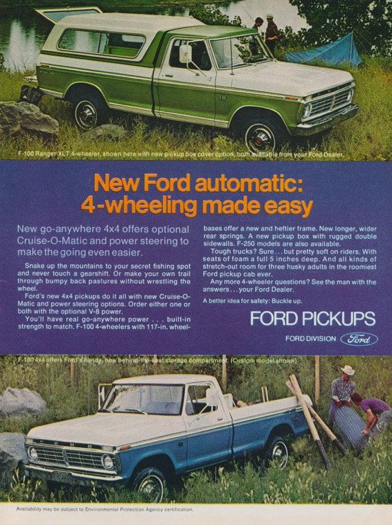 1973 Ford F 100 4 Wheelers Pickups Truck With By Advintagecom Ford Pickup Trucks Pickup Trucks Ford Pickup