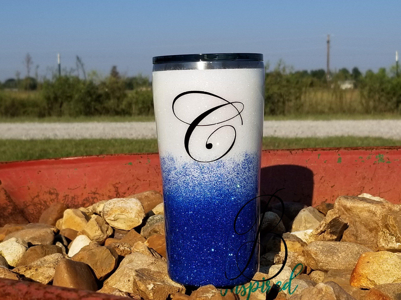Blue and white baseball glitter tumbler Custom