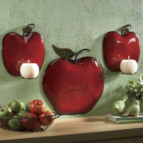 3 Piece Apple Sconce Set Apple Kitchen Decor Kitchen Decor Sets