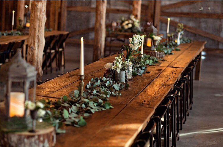 woodland table setting; family style tables | Wedding | Pinterest ...