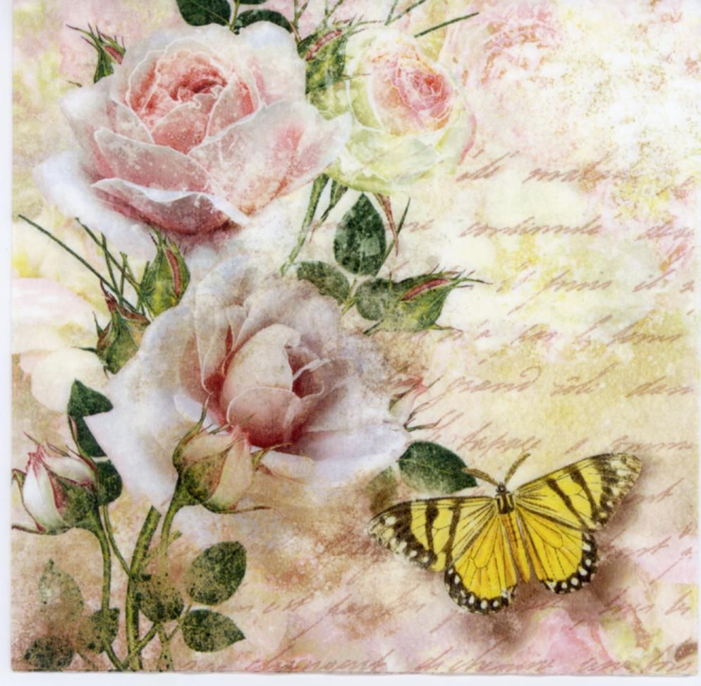 Decorative Paper Napkins Of Butterfly And Roses In The Letter Luncheon Napkins For Decoupage Napkin Decoupage Decorative Paper Napkins Decoupage Paper