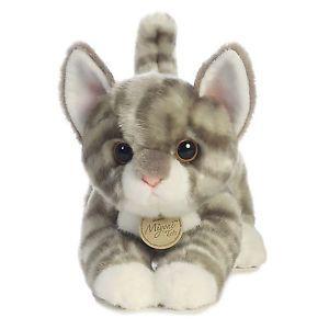 Miyoni Aurora Plush Stuffed Animal Gray Silver Tabby Cat Kitten