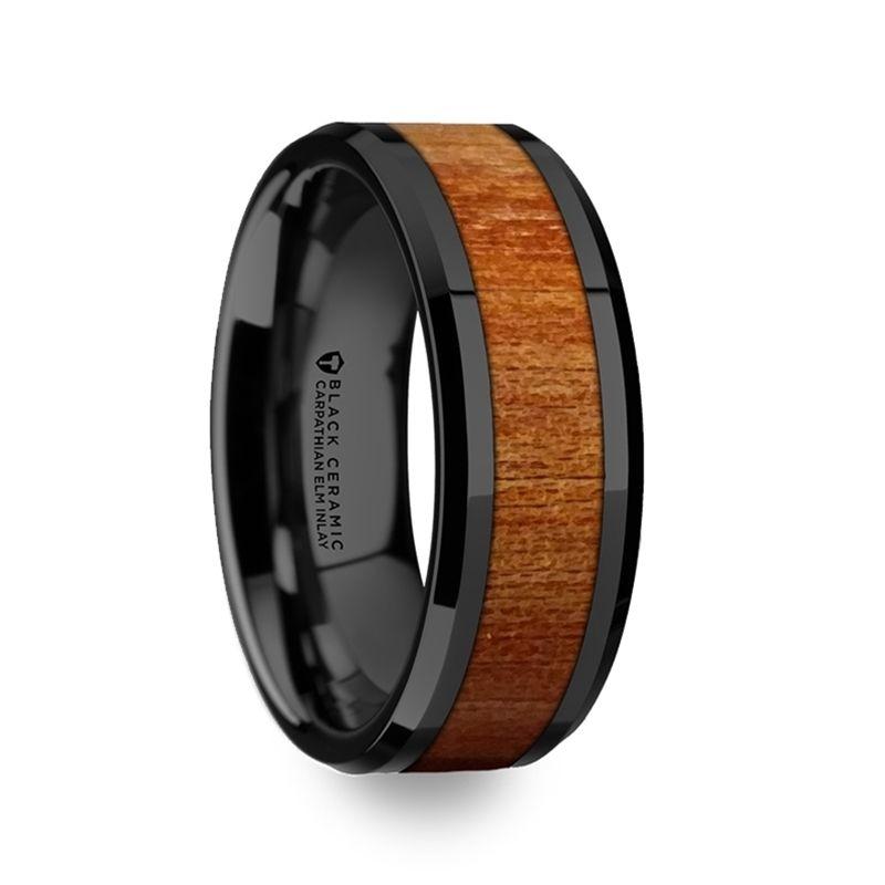 Thracian Carpathian Wood Inlaid Black Ceramic Ring With Bevels 8mm Black Ceramic Ring Black Titanium Wedding Bands Black Titanium Ring
