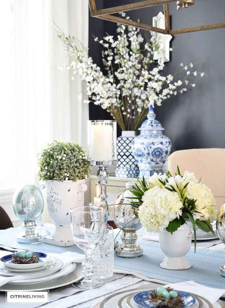 A SIMPLE AND ELEGANT EASTER TABLESCAPE | Pinterest | Mercury glass ...