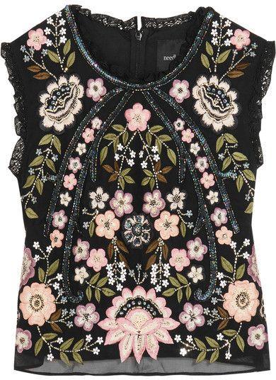 cc558b64da9d8 Needle   Thread - Cropped Embellished Chiffon Top - Black