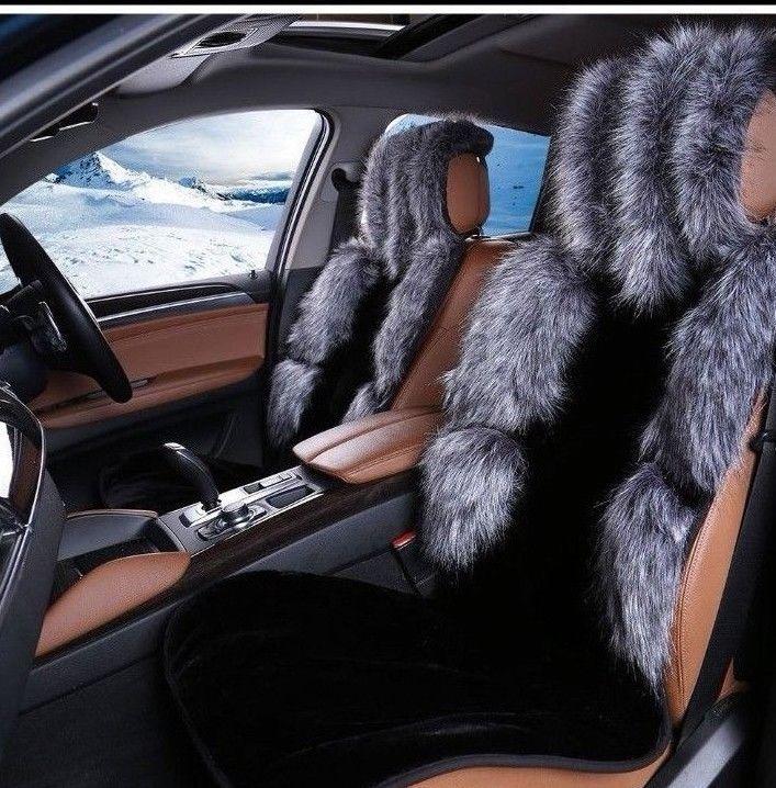 Black Gray Universal Faux Fur Plush Car Seat Protector Cover Set RownfurGla