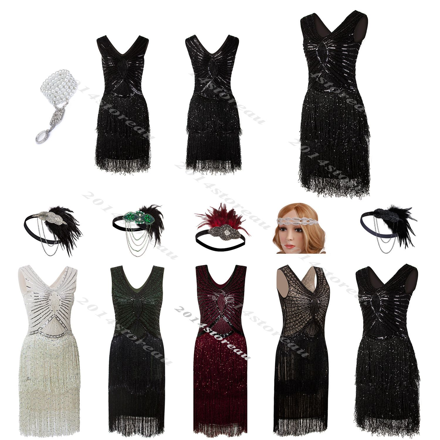 S flapper dress gatsby vintage wedding evening party fringed