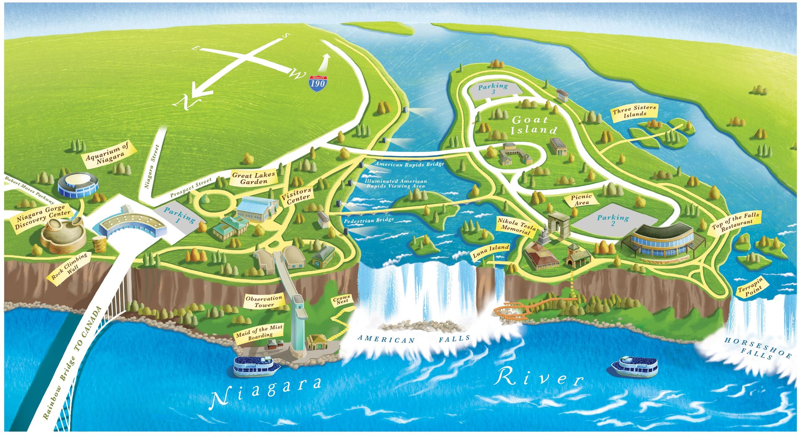 Niagara Falls On Us Map Niagara Falls State Park, New York. Definitely going to visit the