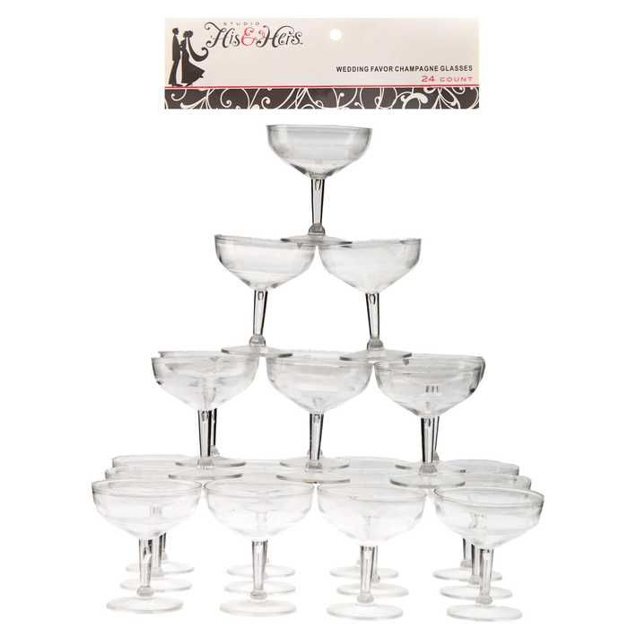 Clear Champagne Glass Plastic Wedding Favors