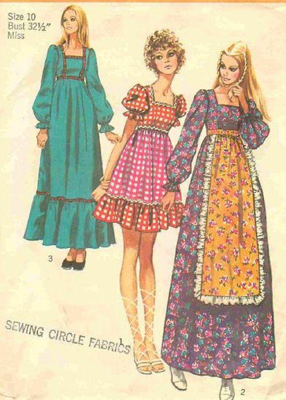 1970s Peasant Gypsy Dress Simplicity 9486, Long or Mini. Skirt ...