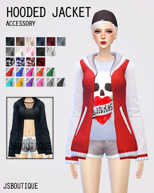 Sims 4 CC's - The Best: Hooded Jacket Accessory by jsboutique