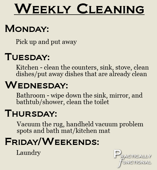 How To Clean A Kitchen weekly schedule for cleaning an apartment in 15 minutes a day. i