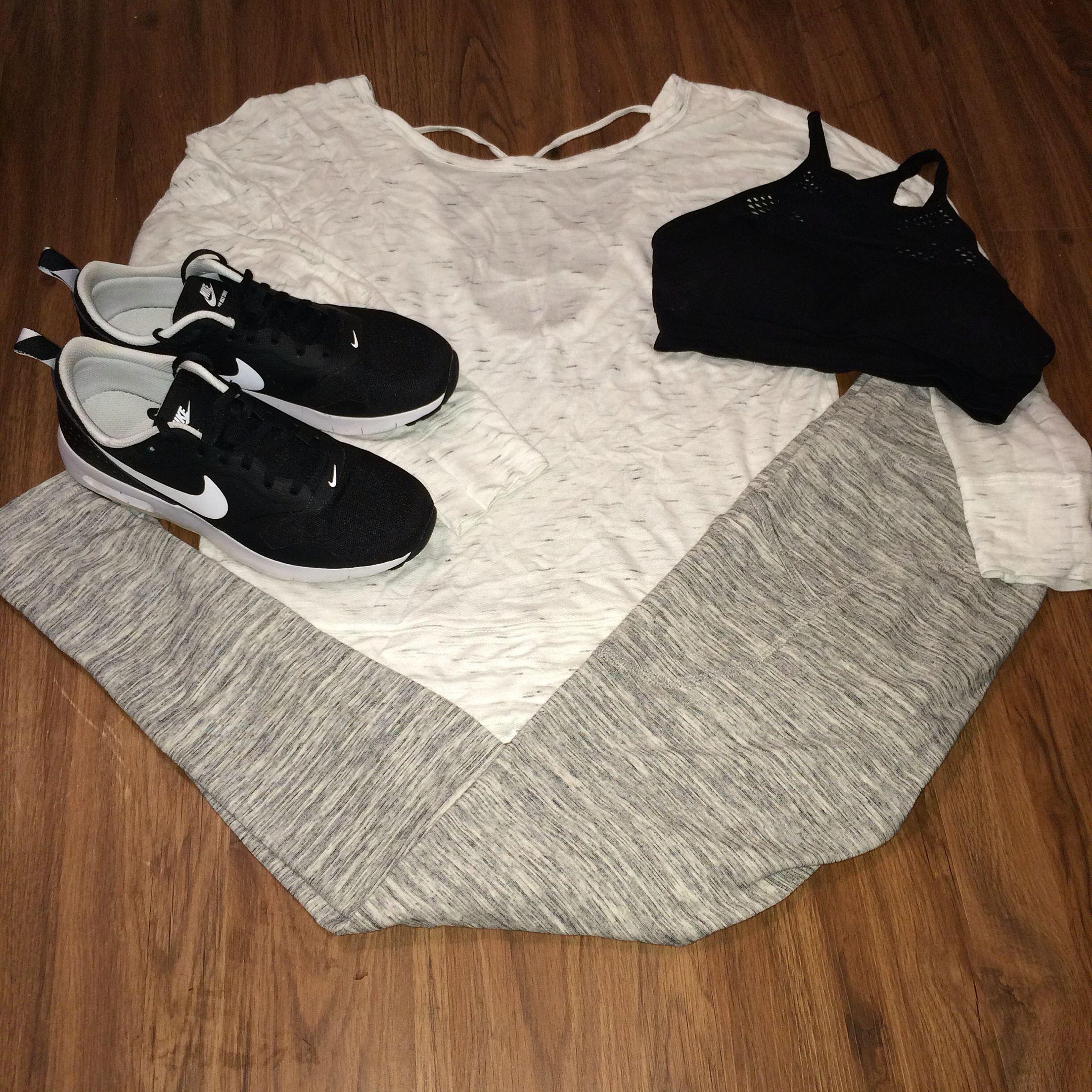 Meryl grey gym outfit, Nike tavas live love dream