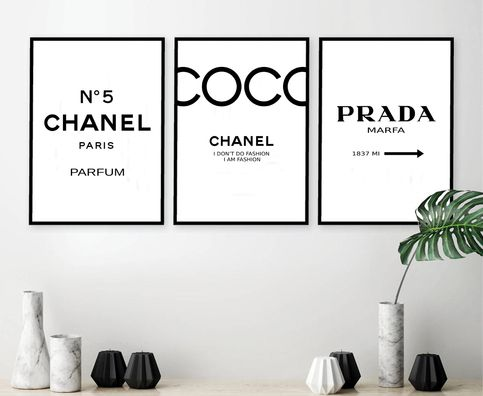 Set Of 3 Inspired Coco Chanel Art Print Poster Chanel Prints Prada Prints Prada Marfa Poster Chanel Set Chanel Decor Chanel Print Set 142 Chanel Decor Chanel Room Chanel Art Print
