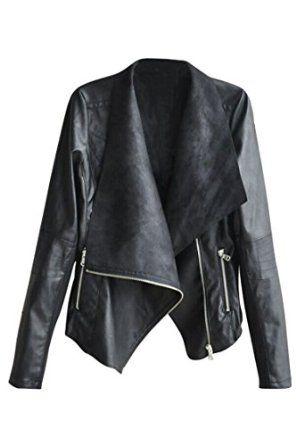 deebbe887c Pink Queen® Women s Plus Size Ultrathin Faux Leather Soft Lapel Coat Jacket  at Amazon Women s Coats Shop