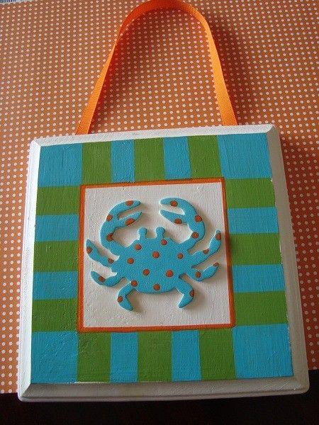 Seaside crab plaque decor - $12