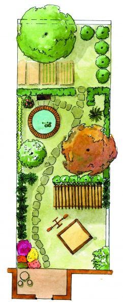 Další úzká zahrada, ale v klasickém stylu, kam se vejde dětské pískoviště na dohled z terasy, jezírko i zeleninová zahrádka tentokrát skrytá pohledům z domu.