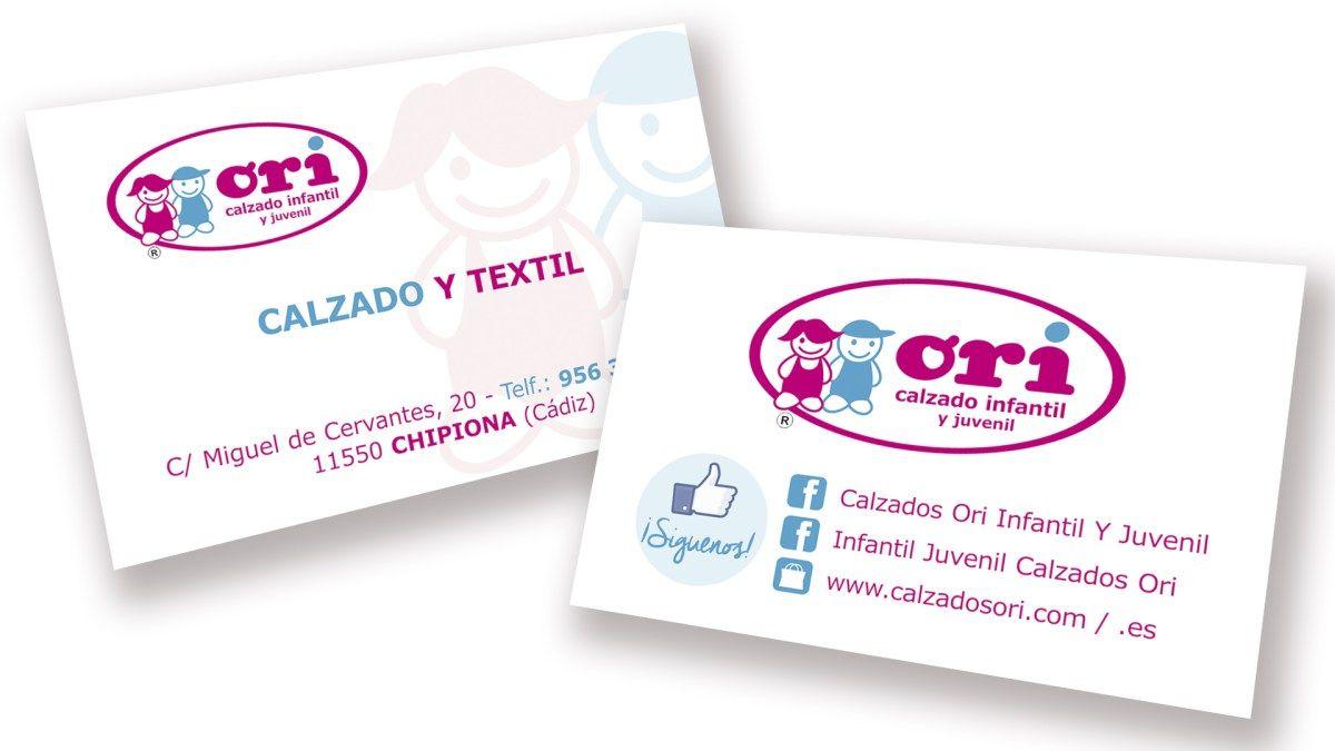 Diseño e impresión de 1.000 tarjetas de visita para CALZADOS ORI