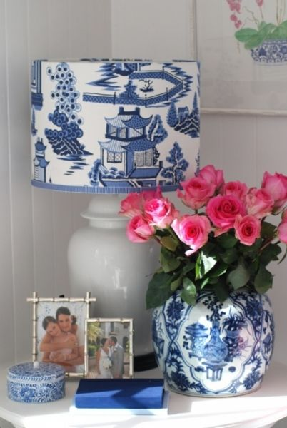 blue and white fabric-covered lampshade
