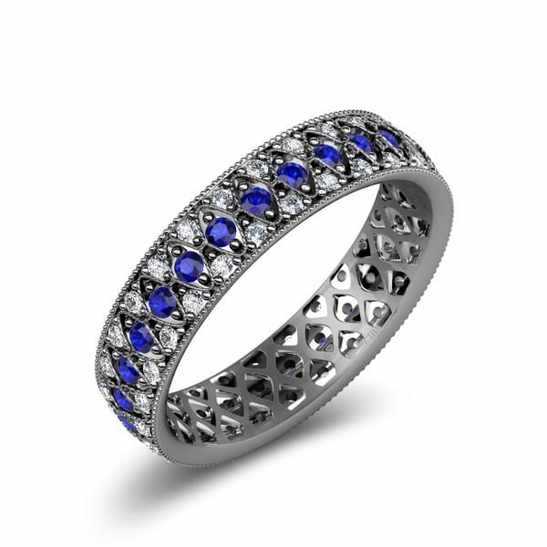 This is a beautiful 1.10cttw-1.27cttw Three Row Eternity Band with Milgrain Work With April Birthstone Diamond