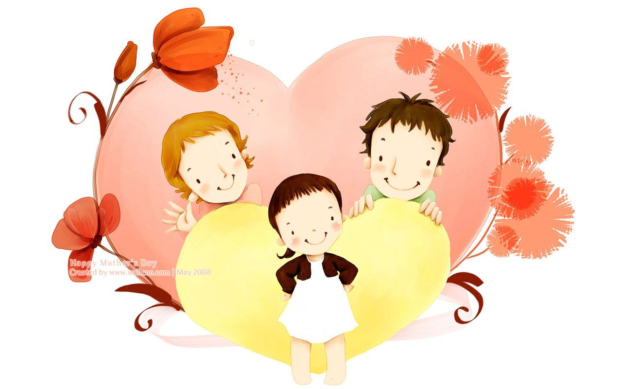 Lovely Illustration Of Happy Family With Love Wallcoo