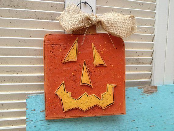 Halloween Decor Orange and Yellow Wooden Pumpkin Halloween Hanger - halloween decor images