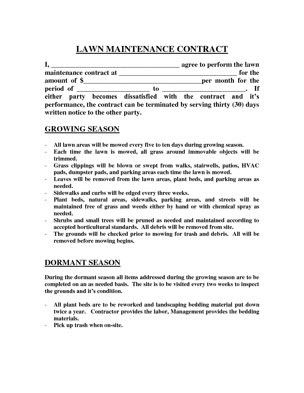 Lawn maintenance contract images lawn maintenance for Monthly service contract template