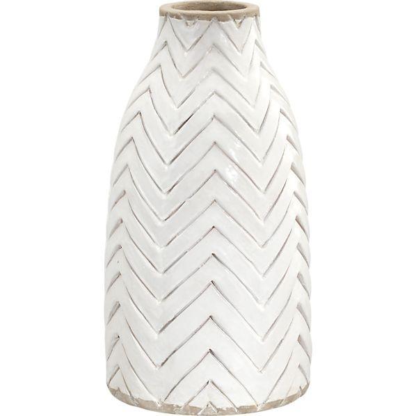 white chevron vase
