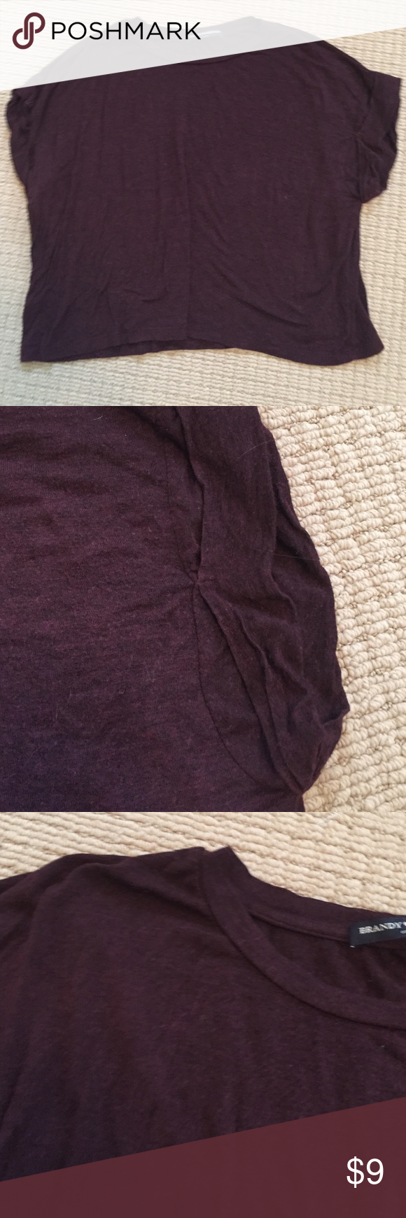 Cute soft Brandy Melville cap sleeve tee Brandy Melville cap sleeve burgundy tee. See pictures for sleeve detail Brandy Melville Tops Tees - Short Sleeve