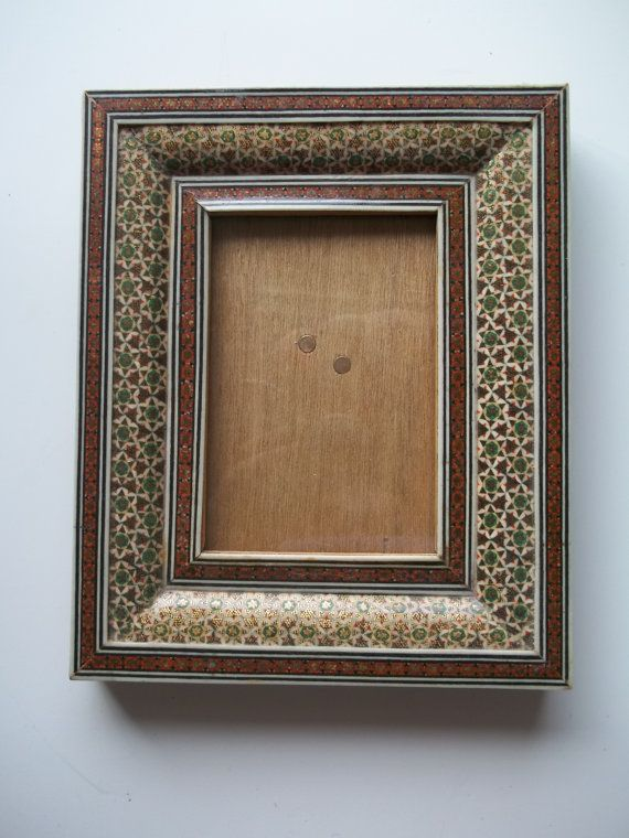 Vintage Persian Inlaid Wood Picture Frame Small Wooden