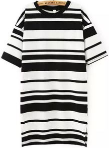 Short Sleeve Striped Loose Dress