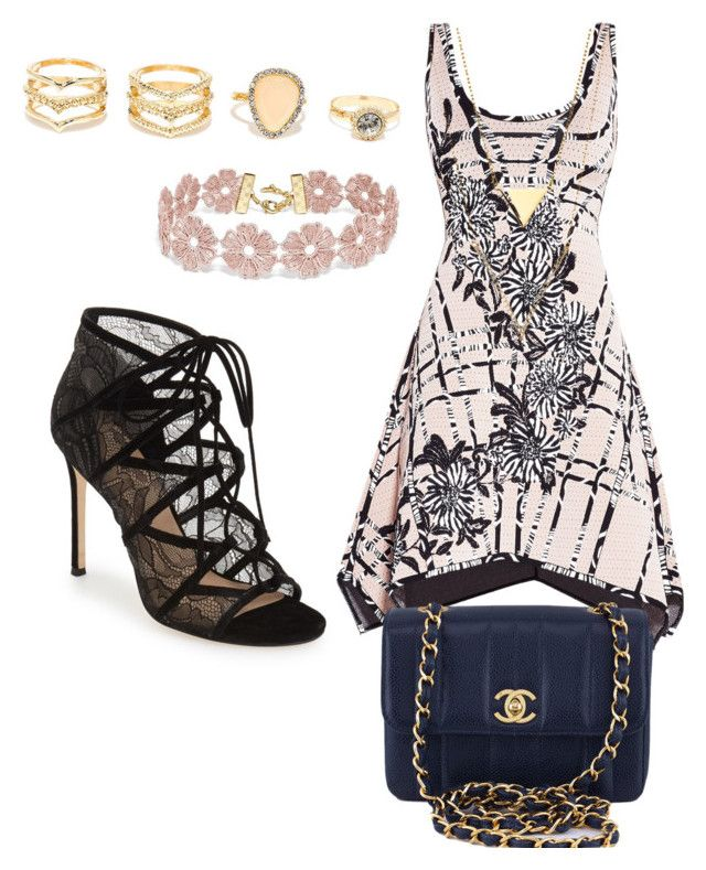 """""""Untitled #29"""" by breeanakelley on Polyvore featuring Hervé Léger, Pour La Victoire, Chanel, LULUS and BaubleBar"""