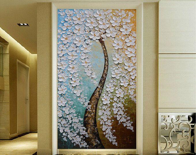 Leinwand Schlafzimmer ~ Handgemalten weißen blume baum malerei wand bild wohnzimmer