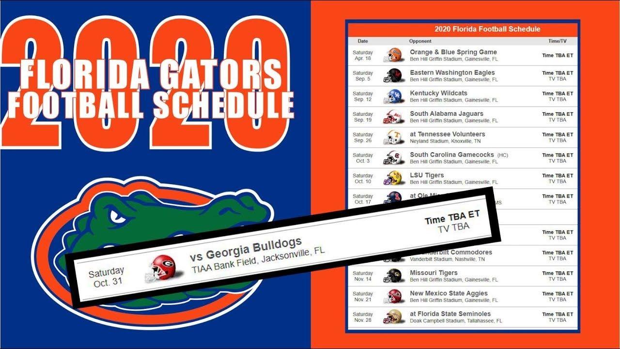 Florida Gators Football 2020 In 2020 Florida Gators Football Gator Football Schedule Florida Football