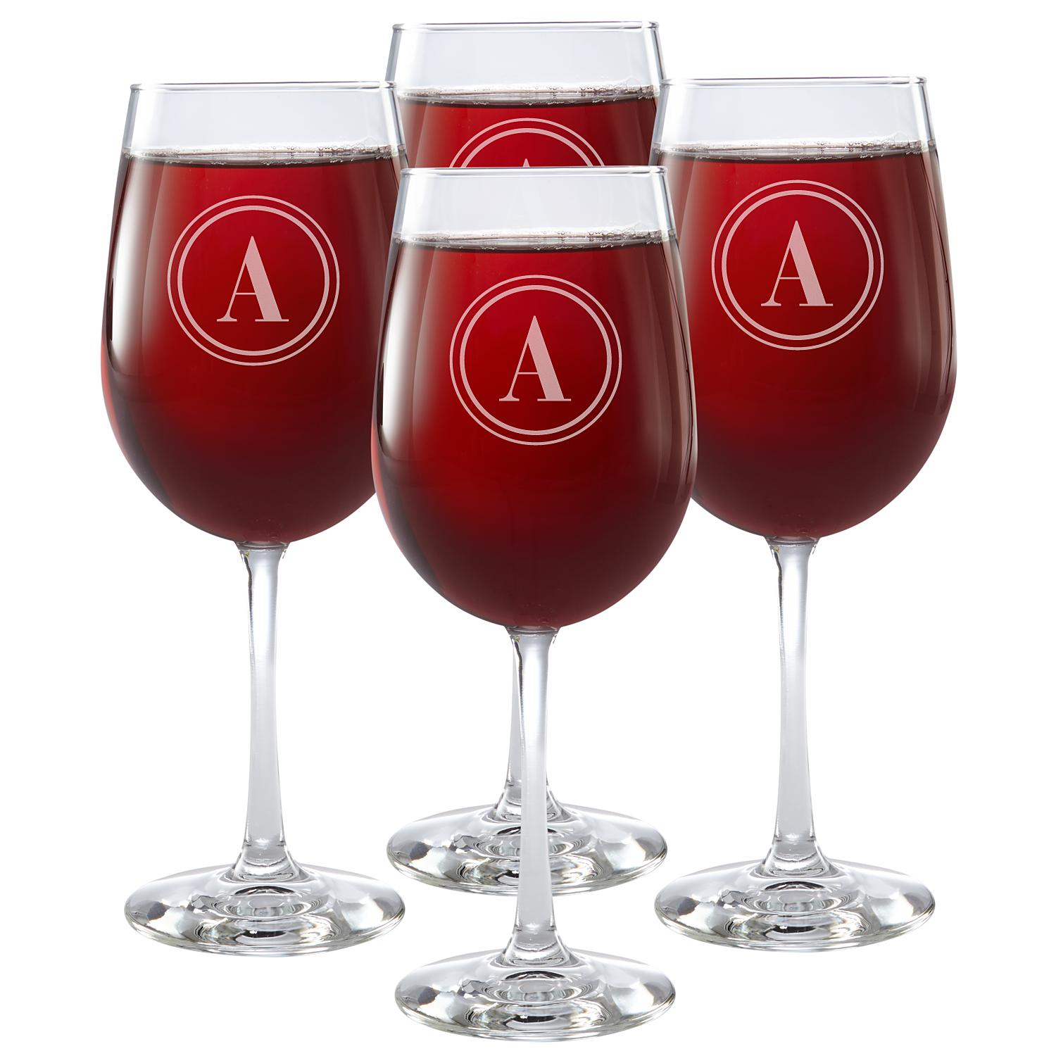 Classic Monogram Stemware Wine Glasses Set Of 4 Circle Wine Glass Wine Glass Set Wine