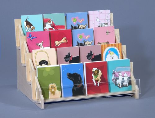 Four level shelf in plywood for cards and gift items