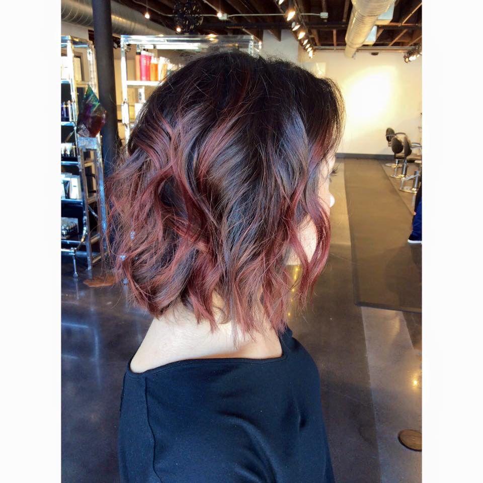 Balayage. Brunette balayage. Red balayage. Red hair. Fall