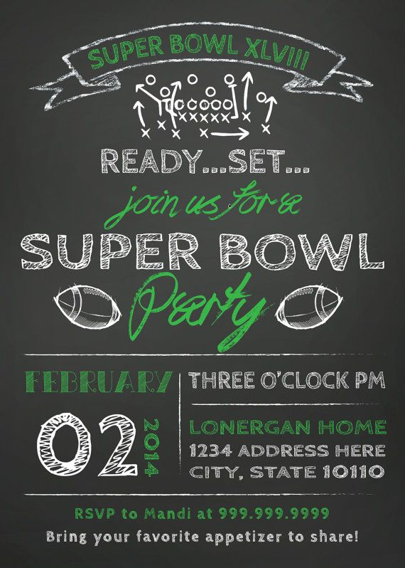 SUPER BOWL Party invitation Super bowl party Party invitations