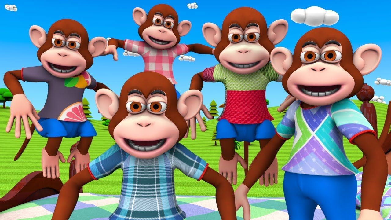 Five Little Monkeys Jumping On The Bed 3d Animation English Nursery Rh Five Little Monkeys Rhymes For Kids Little Monkeys