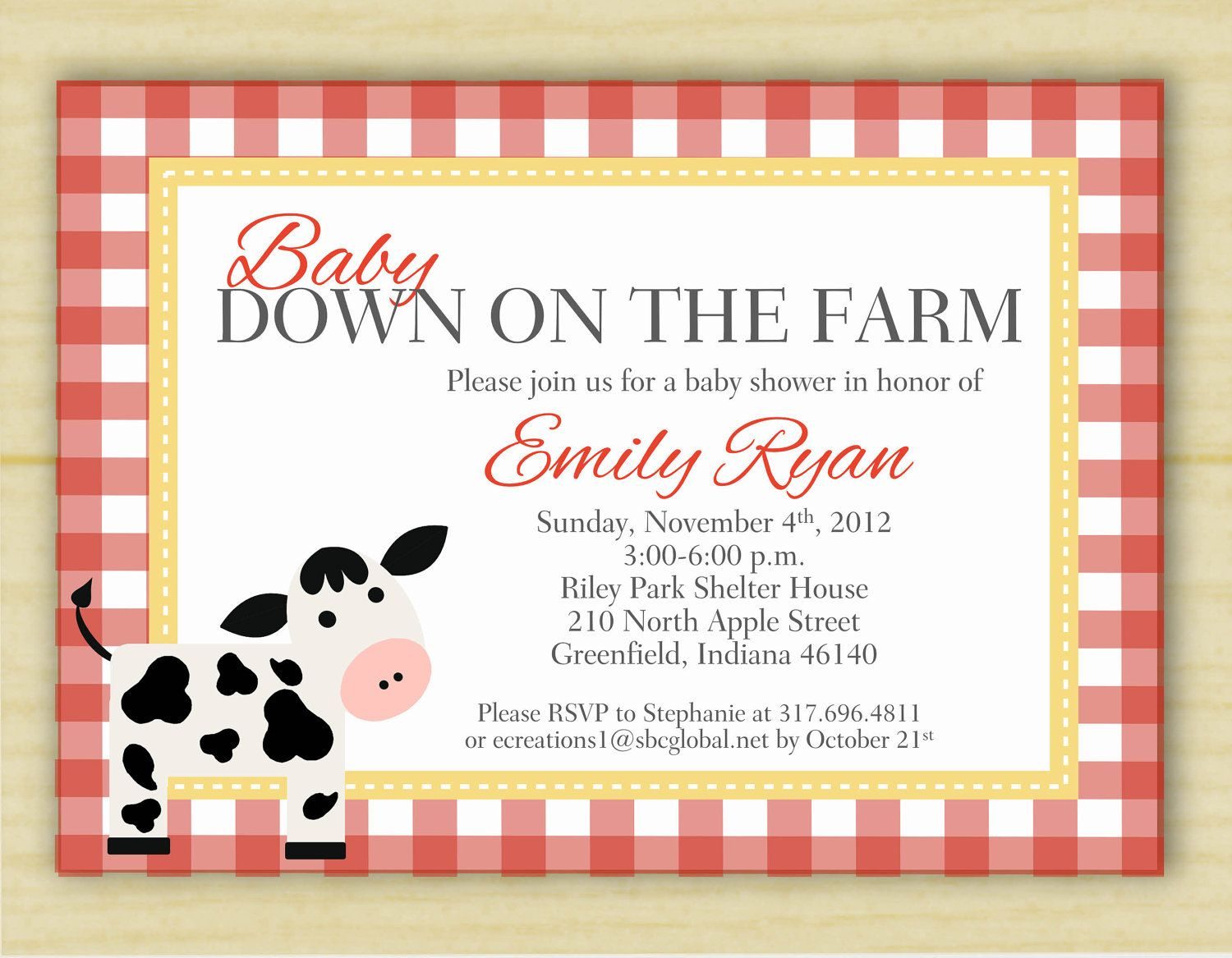 Red Ginham Down on the Farm Baby Shower Invitations (digital image ...