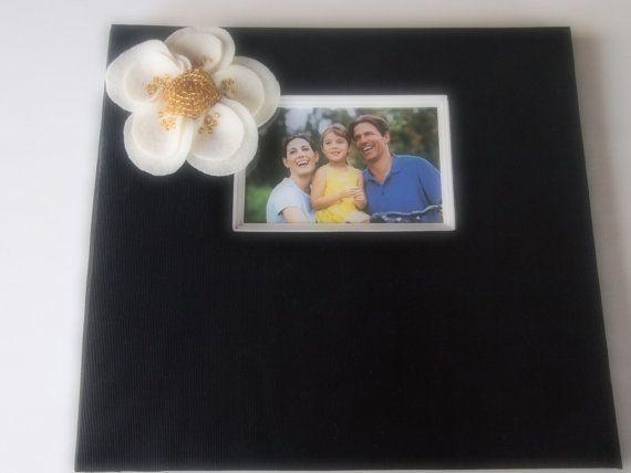 Scrapbook Album Black Ivory Gold Poppy Flower custom colors #wedding by ArtisanFeltStudio on Etsy, $33.00