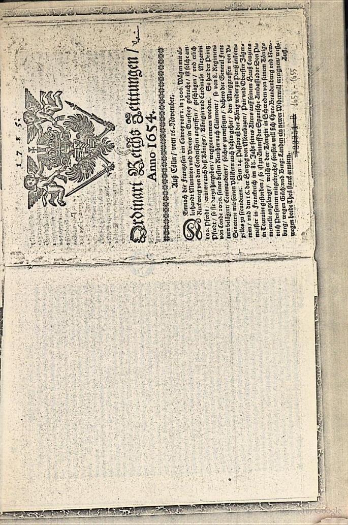 Ordinari Zeittung(Ordinari-Zeitung) - 1654