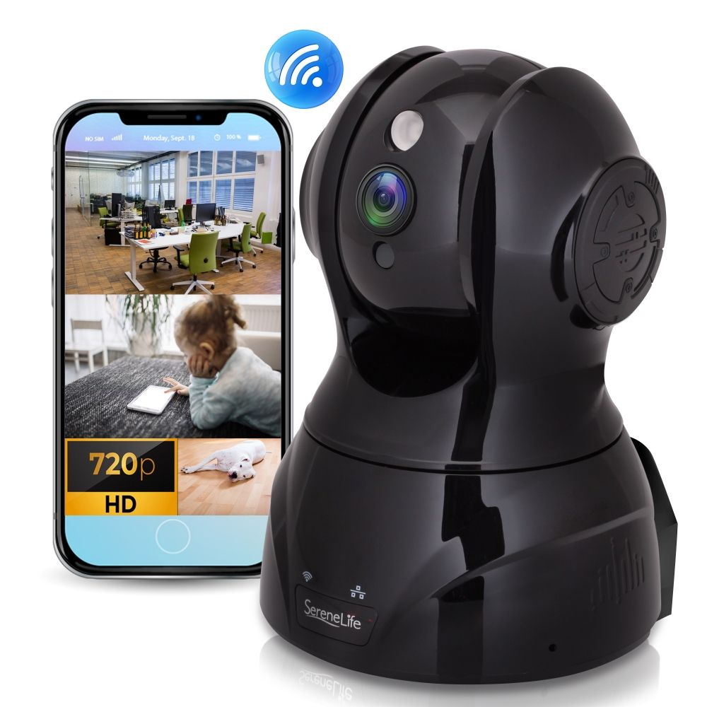 SereneLife IPCAMHD80 - HD Wireless IP Camera / WiFi Cam - Cloud Video Monitoring Surveillance Security Cam with Built-in Microphone & Speaker, PTZ Pan Tilt Zoom Control, App Download (720p)