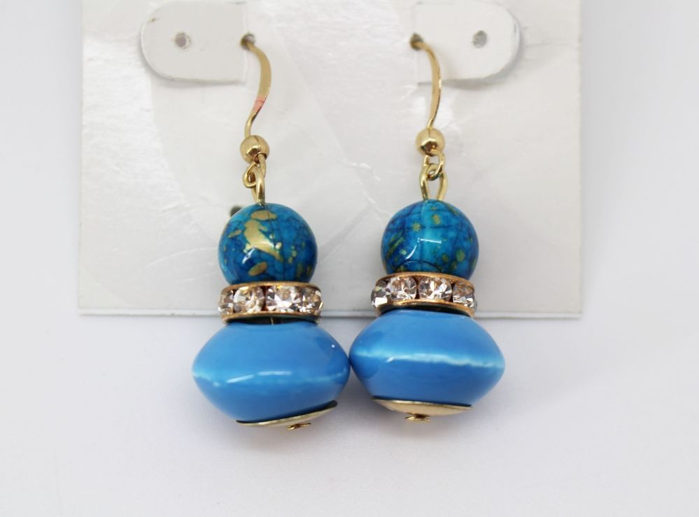 Style&Co Gold Tone Blue Double Crystal Stone Drop Earrings #Styleco #DropDangle