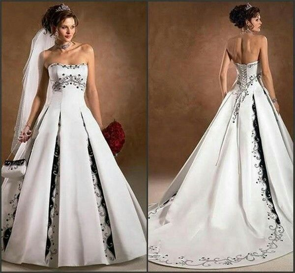 White Wedding Dress With Black And Silver Accents