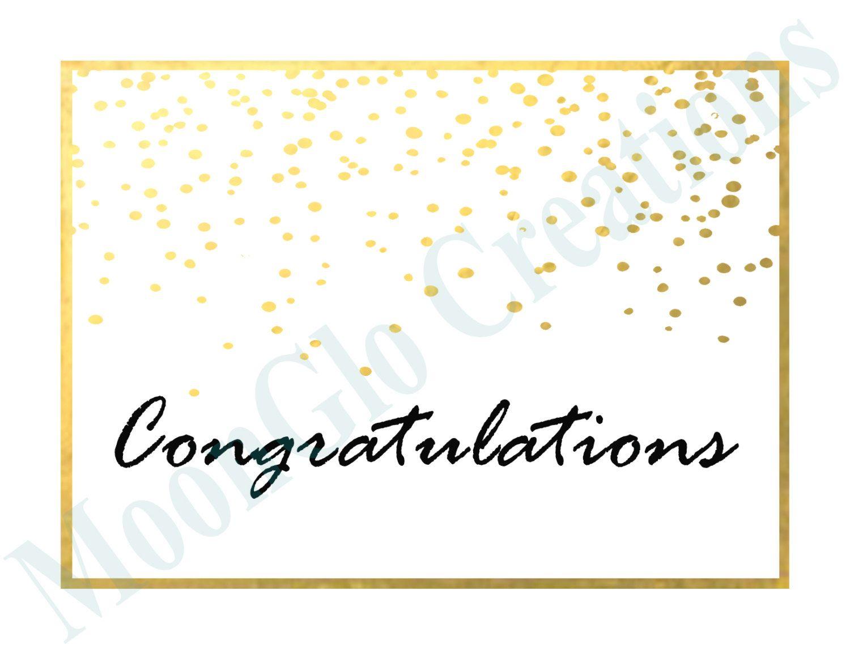 Congratulations card, Printable download, Gold confetti ...