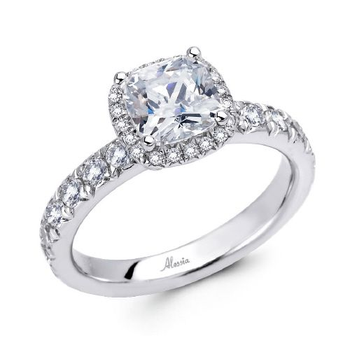 Diamond Halo Engagement Ring Setting - Alessia Collection  Center Diamond Cut: Cushion Cut  Side Diamonds: 46 (weight = 0.82ct)