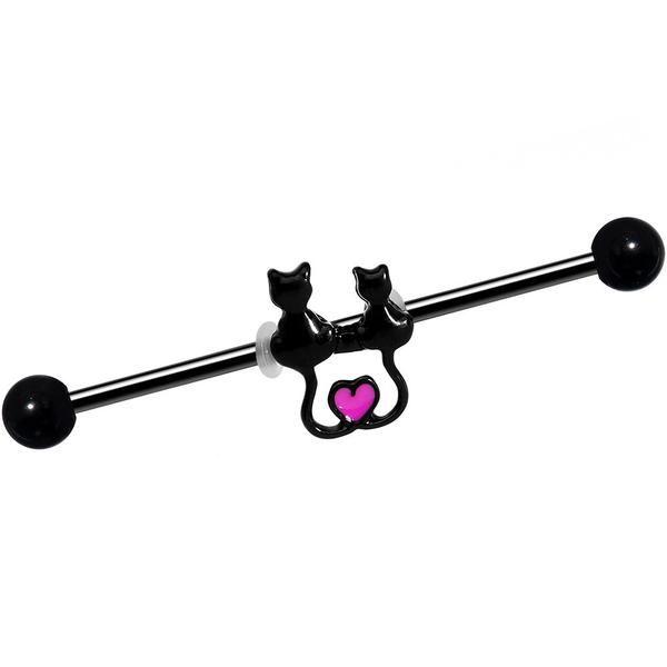 14 Gauge Black Anodized Steel Kitty Cat Love Industrial Barbell 38mm